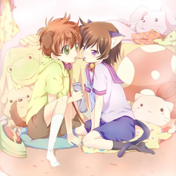 Tags: Anime, Punchiki, CODE GEASS: Hangyaku no Lelouch, Lelouch Lamperouge, Kururugi Suzaku, Pocky Game, Dog Tail, Bedroom, Fanart, Code Geass: Lelouch Of The Rebellion