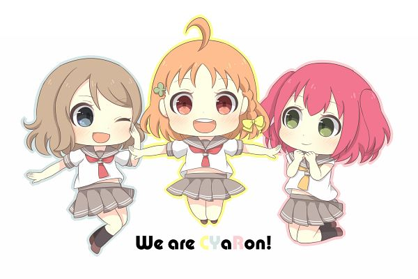 Tags: Anime, Pixiv Id 13200569, Love Live! Sunshine!!, Kurosawa Ruby, Watanabe You, Takami Chika, PNG Conversion, CYaRon!
