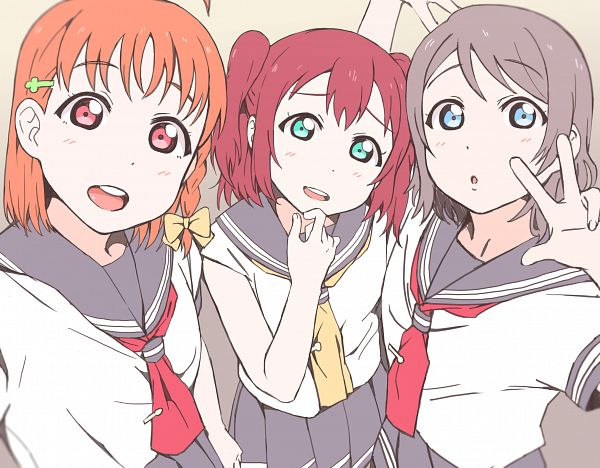 Tags: Anime, Pixiv Id 13702153, Love Live! Sunshine!!, Kurosawa Ruby, Watanabe You, Takami Chika, CYaRon!
