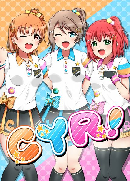 Tags: Anime, Pixiv Id 953690, Love Live! Sunshine!!, Kurosawa Ruby, Watanabe You, Takami Chika, Fanart From Pixiv, Pixiv, Fanart, CYaRon!