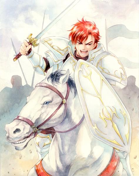 Tags: Anime, Agahari, Fire Emblem: Monshou no Nazo, Cain (Fire Emblem), Horseback Riding, War, Traditional Media, Pixiv