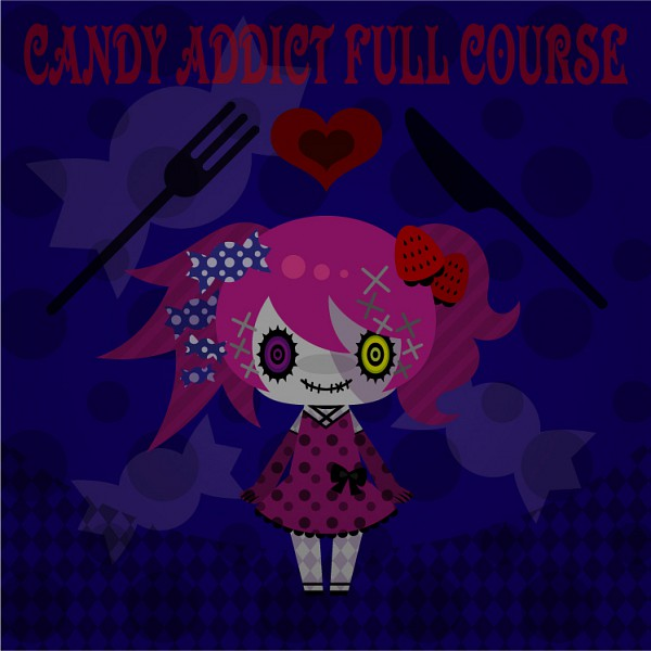 Tags: Anime, Pixiv Id 573689, VOCALOID, Hatsune Miku, Argyle Legwear, Spotted Dress, Stitched Mouth, Candy Addict Full Course, Fanart, Append, Pixiv