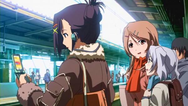 Tags: Anime, Candy Boy, Kamiyama Sakuya, Sakurai Yukino, Sakurai Kanade, Train Station, Screenshot
