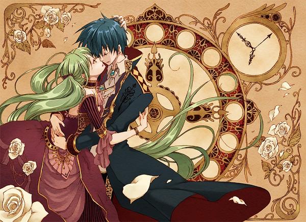Tags: Anime, Pixiv Id 139194, VOCALOID, Hatsune Miku, KAITO, Art Nouveau, Gown, Prince Of Blue, Cantarella (Song), KaiMiku