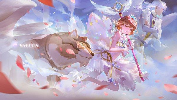 Tags: Anime, Jinn Avalon, Cardcaptor Sakura, Cardcaptor Sakura: Clear Card-hen, Tsukishiro Yukito, Kinomoto Sakura, Kero-chan, Kerberos, Yue (Cardcaptor Sakura), Faux Wings, Fanart From Pixiv, Pixiv, Fanart