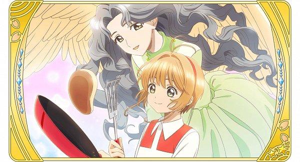 Tags: Anime, Monstar Lab, Cardcaptor Sakura, Cardcaptor Sakura: Happiness Memories, Kinomoto Nadeshiko, Kinomoto Sakura, Pancakes, Cooking Pan, Official Card Illustration, Official Art