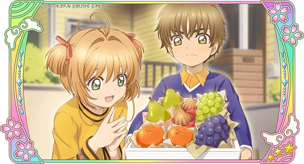 Tags: Anime, Monstar Lab, Cardcaptor Sakura, Cardcaptor Sakura: Happiness Memories, Kinomoto Sakura, Li Syaoran, Pear, Official Card Illustration, Twitter, Official Art