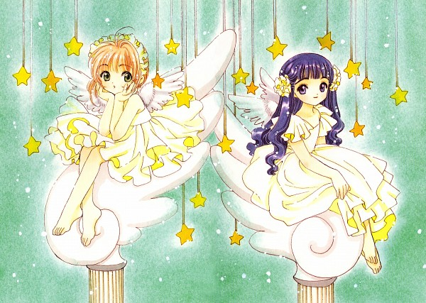 Tags: Anime, CLAMP, Cardcaptor Sakura, Cardcaptor Sakura Illustrations Collection 2, Daidouji Tomoyo, Kinomoto Sakura, Hanging Star, Official Art