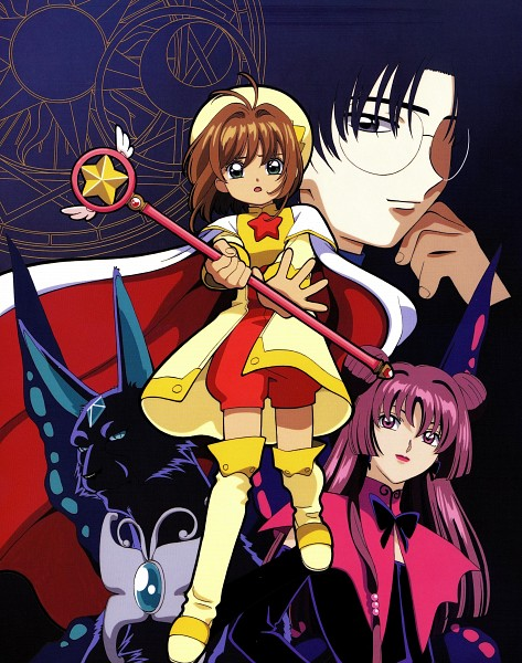 Tags: Anime, MADHOUSE, Cardcaptor Sakura, Cheerio! 3, Hiiragizawa Eriol, Kinomoto Sakura, Spinel Sun, Ruby Moon, Sealing Wand (Star Form), Star Wand, Official Art, Scan