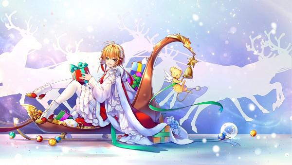 Tags: Anime, Kingchenxi, Cardcaptor Sakura, Kero-chan, Kinomoto Sakura, Sled, Fanart, Pixiv, Wallpaper, Fanart From Pixiv