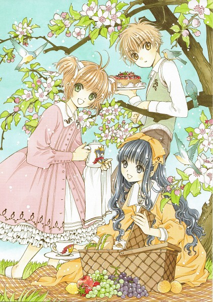 Tags: Anime, CLAMP, Cardcaptor Sakura, Daidouji Tomoyo, Kinomoto Sakura, Li Syaoran, Picnic, Picnic Basket, Scan, Mobile Wallpaper, Official Art