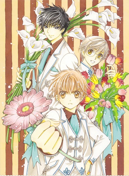 Tags: Anime, CLAMP, Cardcaptor Sakura, Tsukishiro Yukito, Kinomoto Touya, Li Syaoran, Brown Shirt, Calla Lily, Tulip, Scan, Official Art, Mobile Wallpaper