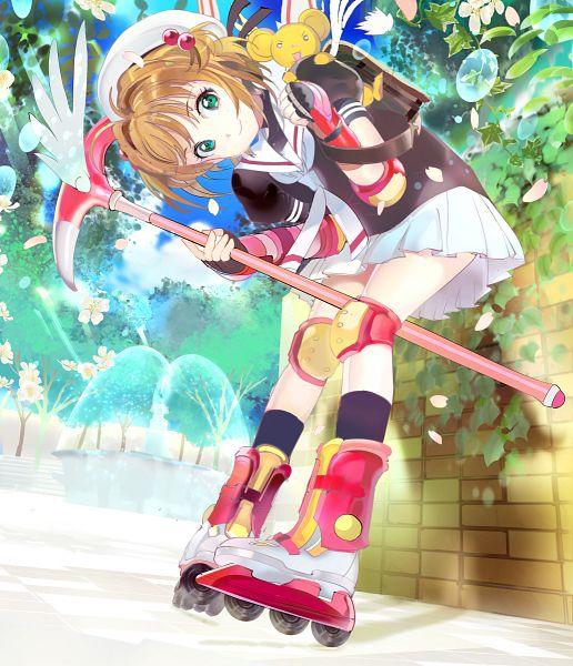 Tags: Anime, 1ten, Cardcaptor Sakura, Kero-chan, Kinomoto Sakura, Pet, Roller Skates, Brick Wall, PNG Conversion