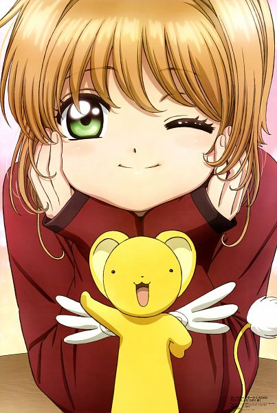 Tags: Anime, MADHOUSE, Cardcaptor Sakura, Kinomoto Sakura, Kero-chan, Official Art, Scan, Mobile Wallpaper