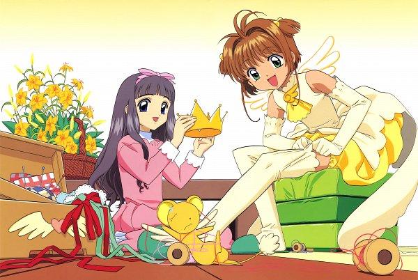 Tags: Anime, MADHOUSE, Cardcaptor Sakura, Cheerio! 2, Kinomoto Sakura, Kero-chan, Daidouji Tomoyo, Magical Girl Outfit, Adjusting Legwear, Husbando, Wai, Stool, Scan