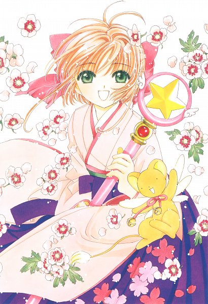Tags: Anime, CLAMP, Cardcaptor Sakura, Cardcaptor Sakura Memorial Book, Kinomoto Sakura, Kero-chan, Sealing Wand (Star Form), Star Wand, Official Art, Mobile Wallpaper, Scan