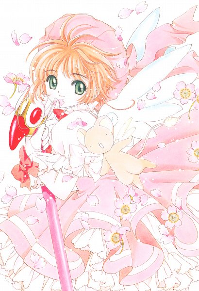 Tags: Anime, CLAMP, Cardcaptor Sakura, Cardcaptor Sakura Memorial Book, Kinomoto Sakura, Kero-chan, Sealing Wand (Dormant Form), Wi, Mobile Wallpaper, Scan, Official Art