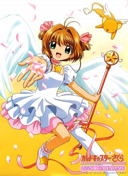 Tags: Anime, MADHOUSE, Cardcaptor Sakura, Kero-chan, Kinomoto Sakura, Sealing Wand (Star Form), Scepter, Star Wand, Official Art, Calendar (Source), Mobile Wallpaper, Scan