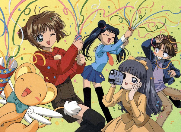 Tags: Anime, MADHOUSE, Cardcaptor Sakura, Kero-chan, Daidouji Tomoyo, Kinomoto Sakura, Li Syaoran, Li Meiling, Video Camera, Party, Scan, Official Art