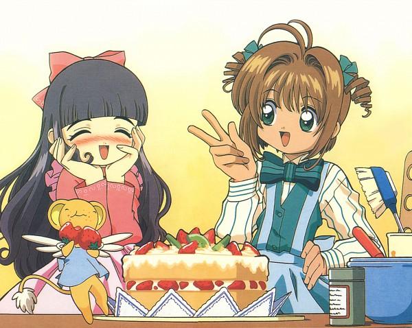 Tags: Anime, Cardcaptor Sakura, Daidouji Tomoyo, Kero-chan, Kinomoto Sakura, Brush, Hair Brushing, Scan, Official Art
