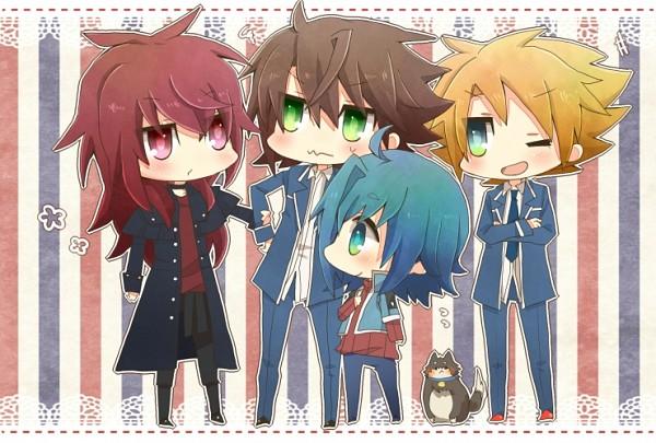 Tags: Anime, Hideo Yu, Cardfight!! Vanguard, Kai Toshiki, Sendou Aichi, Tenchou Dairi, Suzugamori Ren, Miwa Taishi, School Uniform (Hitsue High), Pixiv, Fanart
