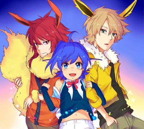 Tags: Anime, Pixiv Id 3894149, Cardfight!! Vanguard, Kai Toshiki, Sendou Aichi, Suzugamori Ren, Jolteon (Cosplay), Vaporeon (Cosplay), Flareon (Cosplay), Fanart From Pixiv, Pixiv, Fanart