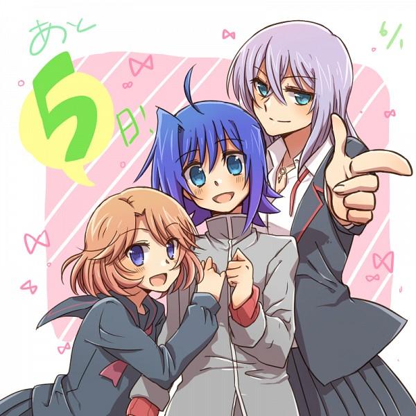 Tags: Anime, Tani (Pixiv 446857), Cardfight!! Vanguard, Sendou Aichi, Sendou Emi, Tokura Misaki, School Uniform (Miyaji Academy), School Uniform (Hitsue Middle School), Pixiv, Fanart
