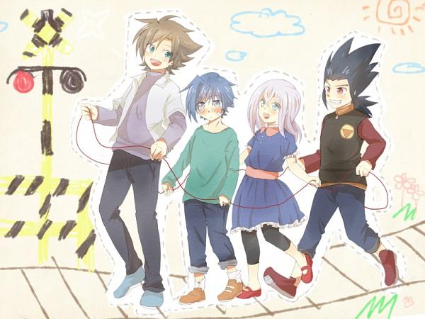 Tags: Anime, Pixiv Id 1184928, Cardfight!! Vanguard, Sendou Aichi, Katsuragi Kamui, Tokura Misaki, Kai Toshiki, Pixiv, Fanart, Team Q4
