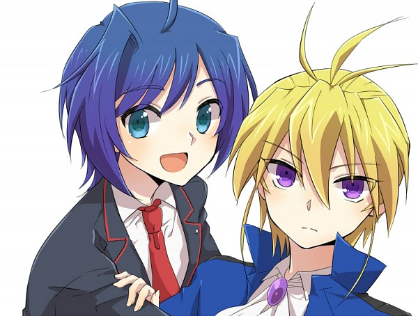 Tags: Anime, Tani (Pixiv 446857), Link Joker Hen, Cardfight!! Vanguard, Souryuu Leon, Sendou Aichi, School Uniform (Hitsue Middle School), Pixiv, Fanart