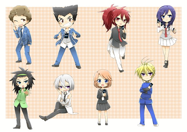 Tags: Anime, Pixiv Id 1711381, Link Joker Hen, Cardfight!! Vanguard, Souryuu Leon, Izaki Yuuta, Narumi Asaka, Sendou Emi, Suzugamori Ren, Morikawa Katsumi, School Uniform (Hitsue High), Pixiv, Fanart
