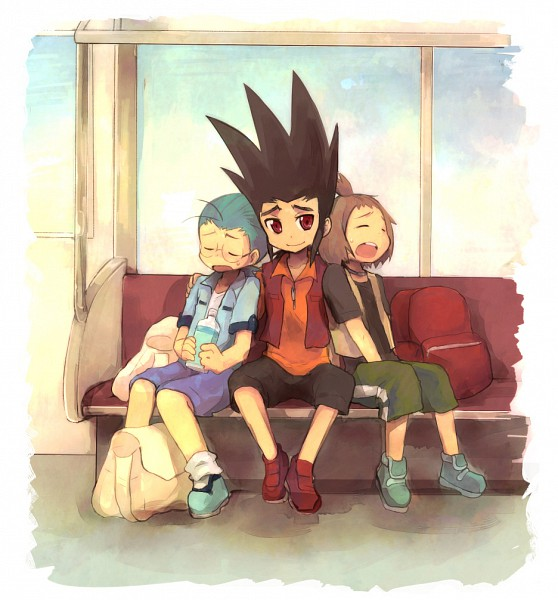 Tags: Anime, Raq, Cardfight!! Vanguard, Katsuragi Kamui, Saga Eiji, Uno Reiji, Water Bottle, Train Interior, Fanart, Pixiv