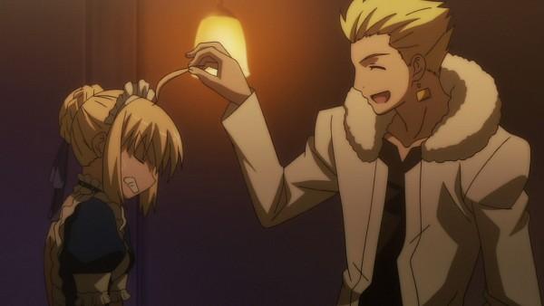 Tags: Anime, TYPE-MOON, Carnival Phantasm, Gilgamesh, Saber (Fate/stay night), Gritted Teeth, Screenshot