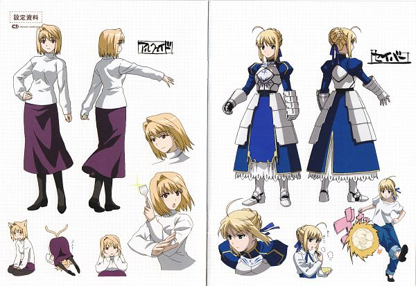 Tags: Anime, Lerche, TYPE-MOON, Carnival Phantasm, Saber (Fate/stay night), Arcueid Brunestud, Official Art, Character Sheet, Scan