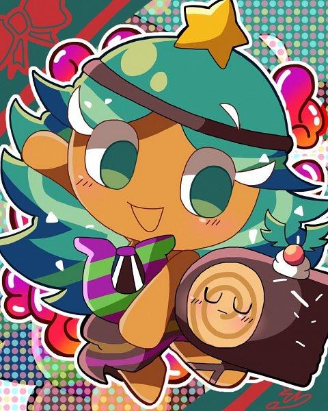 Tags: Anime, Pixiv Id 24643570, Cookie Run, Carol Cookie, Yule Log Cake, Lyre, Pixiv, Fanart, Fanart From Pixiv
