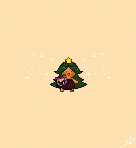 Tags: Anime, Nellcher, Cookie Run, Carol Cookie, Lyre, Brown Dress, Fanart, Twitter, PNG Conversion