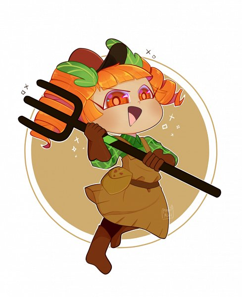 Tags: Anime, Pepper-mint, Cookie Run: OvenBreak, Cookie Run, Carrot Cookie, Brown Headwear, Brown Hat, Rake, Tumblr, Fanart, Fanart From Tumblr