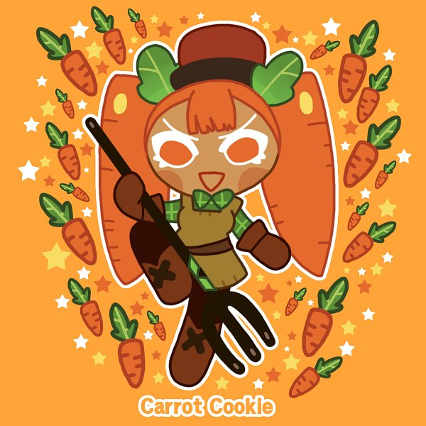 Tags: Anime, Loren (Pixiv23389905), Cookie Run: OvenBreak, Cookie Run, Carrot Cookie, Farmer, Brown Hat, Rake, Brown Headwear, Fanart, Fanart From Pixiv, Pixiv