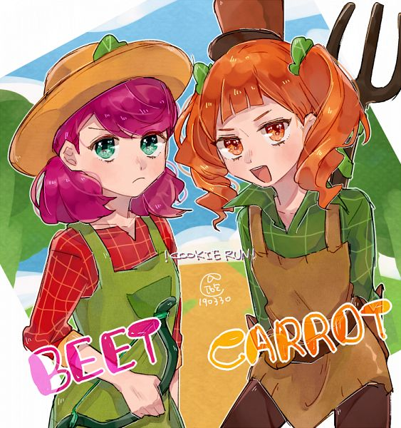 Tags: Anime, Pixiv Id 2949761, Cookie Run: OvenBreak, Cookie Run, Beet Cookie (Farm Ranger), Beet Cookie, Carrot Cookie, Farmer, Rake, Farmer Hat, Pixiv, Fanart, Fanart From Pixiv