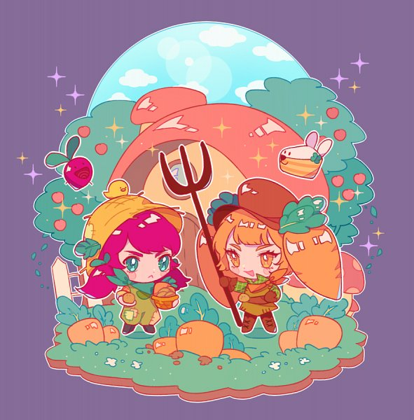 Tags: Anime, Hikun, Cookie Run: OvenBreak, Cookie Run, Carrot Cake Rabbit, Beetster, Beet Cookie, Beet Cookie (Farm Ranger), Carrot Cookie, Farmer Hat, Farmer, Rake, Fanart