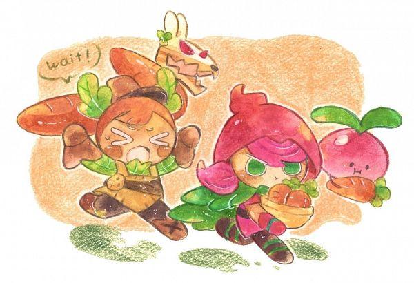 Tags: Anime, Syuragi, Cookie Run: OvenBreak, Cookie Run, Carrot Cake Rabbit, Beetster, Beet Cookie, Carrot Cookie, Purple Handwear, Purple Gloves, Traditional Media, Fanart, Twitter