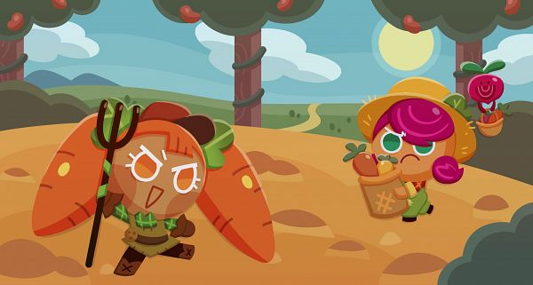 Tags: Anime, Ririko (Pixiv30503181), Cookie Run: OvenBreak, Cookie Run, Carrot Cookie, Beet Cookie (Farm Ranger), Beetster, Beet Cookie, Rake, Farmer Hat, Farm, Farmer, Fanart