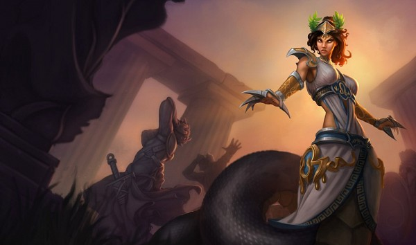 Tags: Anime, Riot Games, League of Legends, Cassiopeia, Laurel Wreath, Lamia, Greek Architecture, Greek Clothes, Metal Claws, Cover Image, Official Art