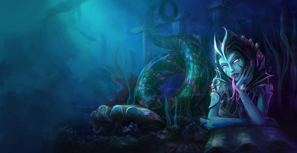 Tags: Anime, League of Legends, Cassiopeia, Lamia, Alternate Skin Color, Official Art, Facebook Cover