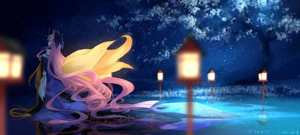 Tags: Anime, Bzerox, Fate/Grand Order, Caster (Fate/EXTRA), Walking On Water, Fanart, Fanart From Pixiv, Facebook Cover, Pixiv