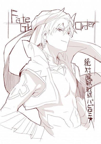 Tags: Anime, Akai Toshifumi, Fate/Grand Order: Zettai Majuu Sensen Babylonia, Fate/Grand Order, Caster (Gilgamesh), Gilgamesh, Official Art, Line Art, Twitter