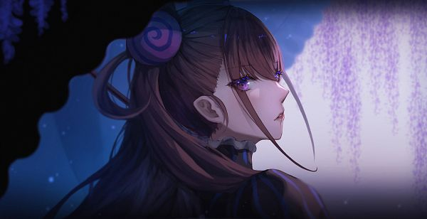 Tags: Anime, Pixiv Id 13668796, Fate/Grand Order, Caster (Murasaki Shikibu), Wisteria, Facebook Cover, Fanart, Fanart From Pixiv, Pixiv
