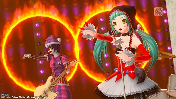 Tags: Anime, Poisoncage, Circus (Rann), Project DIVA F, VOCALOID, Hatsune Miku, Project DIVA Pierreta, 3D, Screenshot, Wallpaper, Catfood (VOCALOID), HD Wallpaper