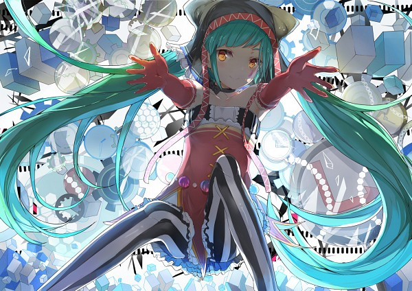 Tags: Anime, Pixiv Id 3410615, Project DIVA F, VOCALOID, Hatsune Miku, Cat Hat, Facial Tattoo, Vertical-striped Legwear, Fanart From Pixiv, Project DIVA Pierreta, Catfood (VOCALOID), Fanart, Pixiv