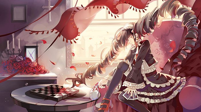 Tags: Anime, Dhiea (Pixiv270545), Danganronpa, Celestia Ludenberg, Red Curtain, Facebook Cover, Pixiv, Fanart, Fanart From Pixiv