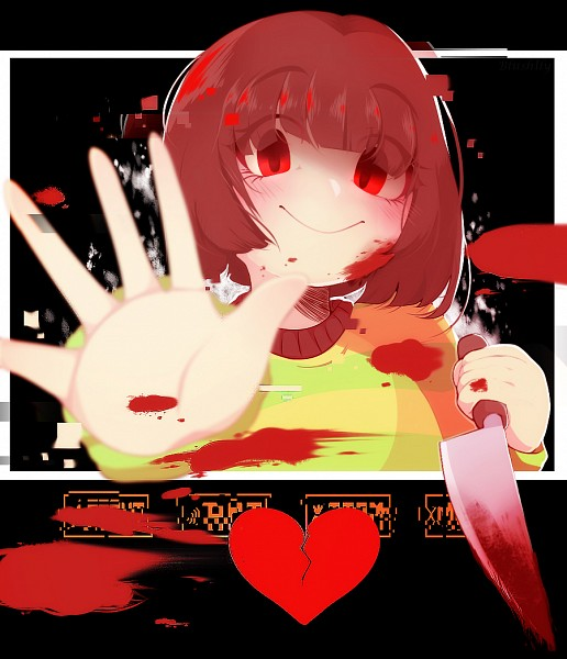 Tags: Anime, Blushily, Undertale, Chara (Undertale), Striped Outerwear, Broken Heart, Blood On Weapons, Striped Sweater, PNG Conversion, deviantART, Fanart, Fanart From DeviantART